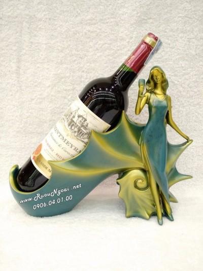 Kệ Rượu Thiếu Nữ Cầm Ly MS01